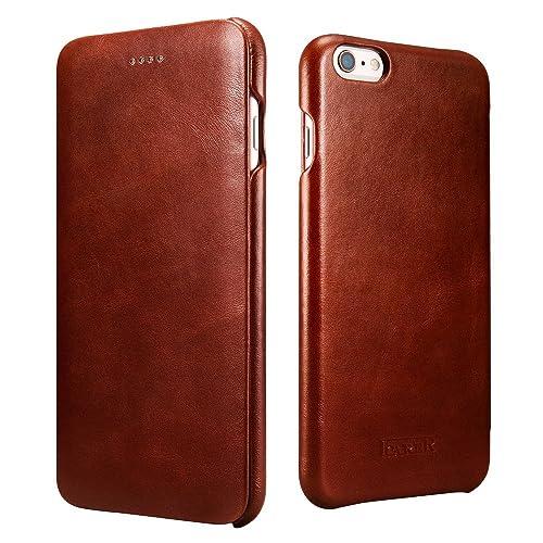 8f65f8a8e2ab5f iPhone 6 leather case, Icarercase Premium iPhone 6s Genuine Leather Wallet  Case Curve Edge Flip