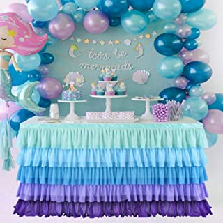 KIXIGO Mermaid Table Skirt Table Cloth for Rectangle or Round Table,Tulle Table Skirting for Wedding,Birthday,Baby Shower,Party Decoration (Mermaid, L 6(ft) H 30in)