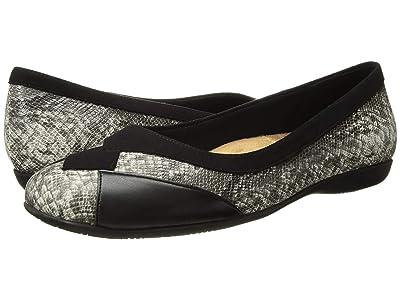 Trotters Sharp (Black Suede/Black/White Embossed Snake/Black Soft Nappa Leat) Women
