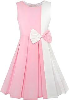 Sunny Fashion Vestito Bambina Colore Block Contrasto Cravatta a Farfalla Ogni Giorno Festa 4-14 Anni
