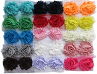 """YYCRAFT (60 Pieces) Solids Shabby Flowers Trim Fabric Rose - Chiffon Fabric Roses - 2.5"""" 15 Colors"""