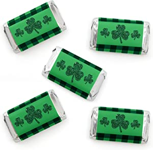 Big Dot of Happiness St. Patrick's Day - Mini Candy Bar Wrapper Stickers - Saint Patty's Day Party Small Favors - 40 Count