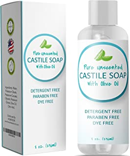 100% Pure Castile Soap Unscented Liquid Mild Soap for Body or Home Use with Olive Oil and Glycerin Nourishing Natural Skin Care Vegan Friendly All Purpose Cleaner Detergent Free & SLS Free Daily Soap