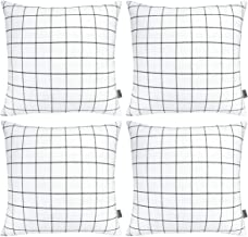 4-Pack Cotton Comfortable Decorative Throw Pillow Case Square Cushion Cover Pillowcase (Cover Only,No Insert) (18x18 inch/...