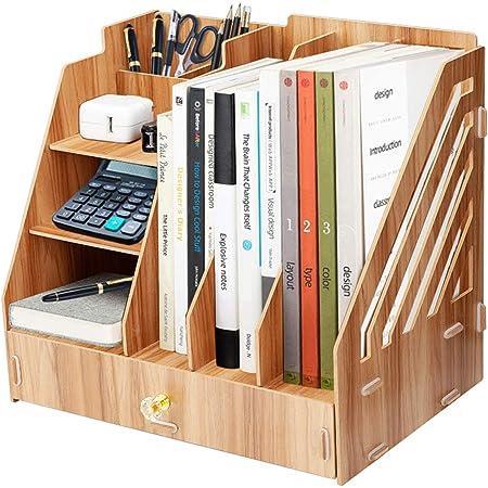 Boîte de rangement de bureau en bois, support de fichiers multifonctionnel bricolage, adapté au bureau, à la maison et à l'école