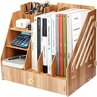 Boîte de rangement de bureau en bois, support de fichiers multifonctionnel de bureau de bricolage, support de stockage de ...
