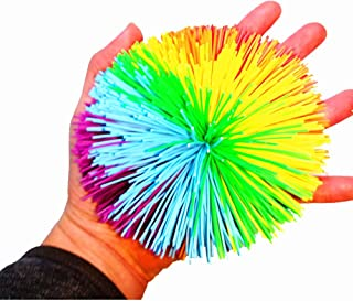 4.5Inch Large Rainbow Stringy Ball Silicone Bouncing Fluffy Jugging Ball,Monkey Stress Ball