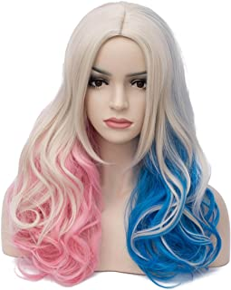 Aosler Women's Colorful Wigs,18 Inches Wavy Curly Synthetic Hair Wigs - Heat Friendly Cosplay Party Costume Wigs for Halloween
