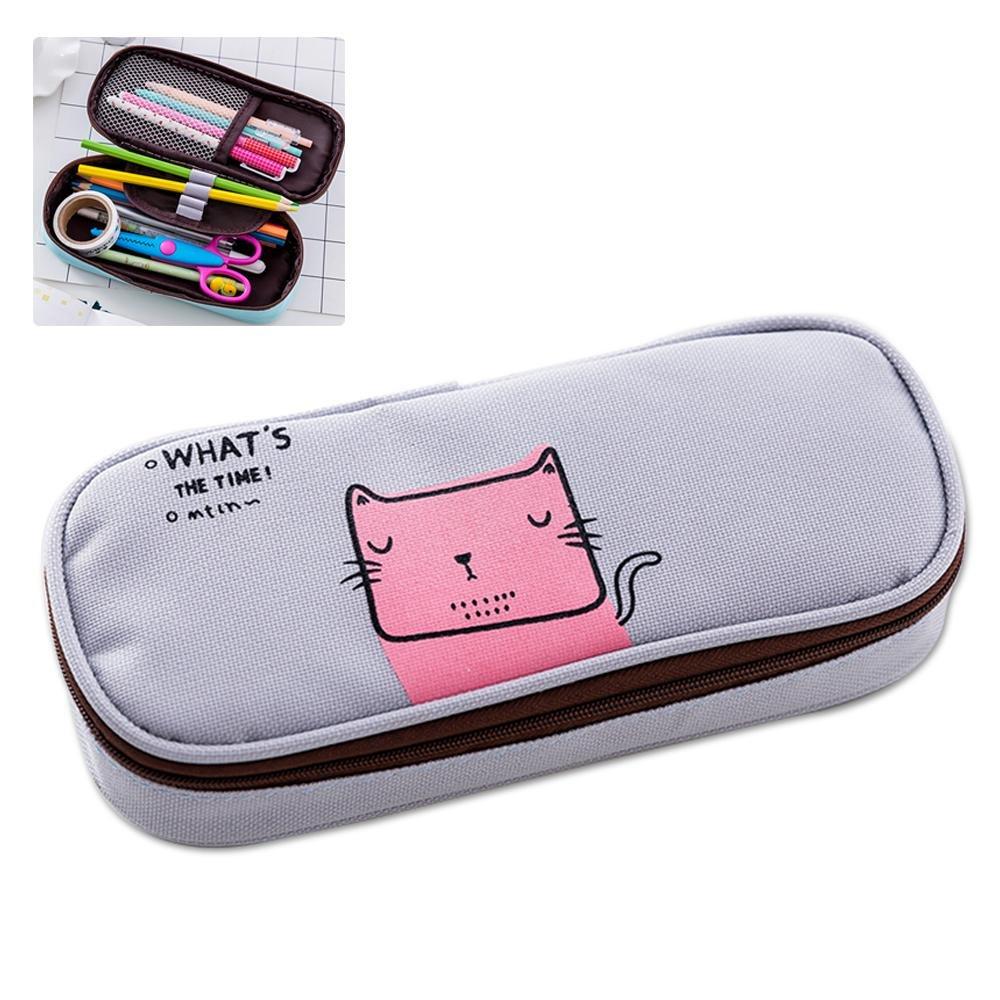 Aolvo - Estuche de lápices Kawaii de dibujos animados estilo japonés, con cremallera, para adolescentes, niños y niñas, delicado estudiante, caja de papelería con cremallera, ranura para bolsa – gato: Amazon.es: Hogar