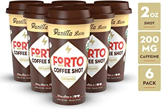 FORTO Coffee Shots - 200mg Caffeine, Vanilla Latte, Ready-to-Drink on the go, Cold Brew Coffee Shot - Fast Coffee Energy Boost, 6 Pack