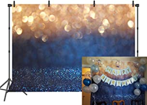 RUINI Blue with Gold Spots Photography Backdrop (Not Glitter) Baby Photo Background Banner 7x5FT