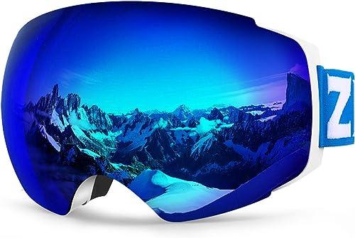 ZIONOR X4 Ski Snowboard Snow Goggles Magnet Dual Layers Lens Spherical Design Anti-Fog UV Protection Anti-Slip Strap ...