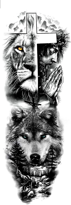 Dark Lion Chart Full Arm Ranking TOP7 Tattoos Seattle Mall Temporary 17X48cm-10Pcs Sticker