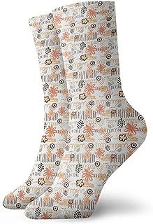 Fuliya, Calcetines suaves de media pantorrilla, sencillos tonos pastel con bonitas flores y rayas, para sala de juegos infantiles, calcetines para mujeres y hombres, ideales para correr