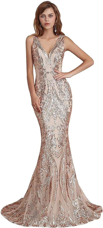 即納 Engerla 返品不可 Mermaid V Neck Evening Dresses Sequind Prom Wome