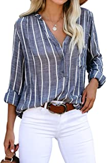 Astylish Women's V Neck Stripes Roll up Sleeve Button Down Blouses Top