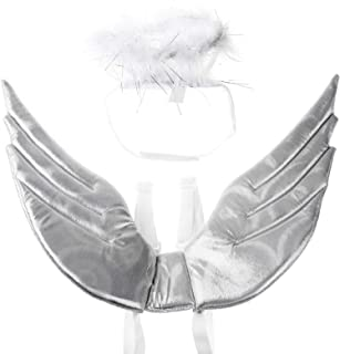 YiZYiF Pet Wings Feather Angel Wings Harness Headband Hat Set Dog Cat Halloween Christmas Costume for Puppy Kitten Bunny H...