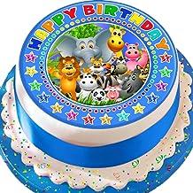 Cannellio Cakes Jungle Animals Blue Happy Birthday 7.5 Inch Precut Edible Icing Cake Topper Decoration