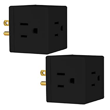 Philips Wall Tap, Extra-Wide Adapter Spaced, Easy Access Design, 3 Prong Outlet, Perfect for Travel, Cube, Black, SPS3002BC/37, 2 Pack