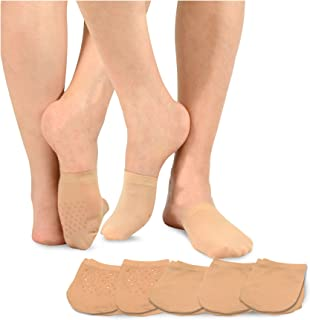 TeeHee Womens Seamless Toe Topper Liner Socks 5-Pack with Non-Skid Bottom (Pale Beige)