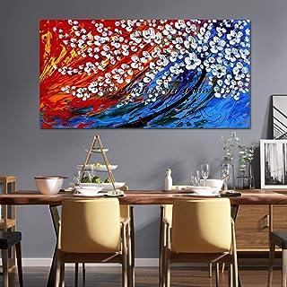Peinture À l'huile Peinte À La Main sur Toile,Couteau à palette fleur arbre blanc Peinture Art Moderne Abstract Wall Art P...