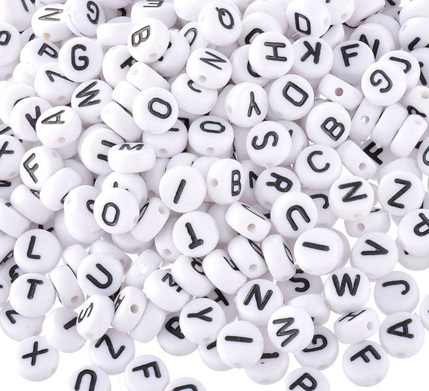 Akak Store Pack of 200 Mixed 4 x 7 mm Round White Acrylic Plastic Beads with Black Letters/ Alphabet Letter