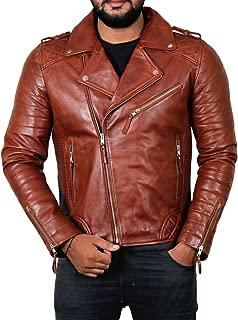 Men's Genuine Lambskin Leather Jacket (Black, Motorcycle Jacket) - 1501474