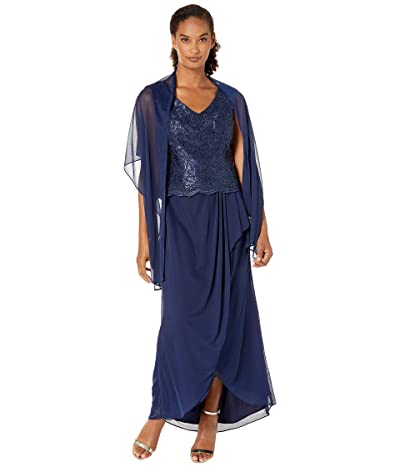 Alex Evenings Long Sleeveless V-Neck Mock Dress with Embroidered Bodice (Navy) Women