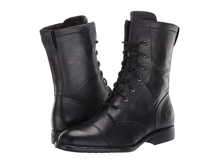 Vintage Boots- Buy Winter Retro Boots Born Neon Black Full Grain Leather Womens Lace-up Boots $85.50 AT vintagedancer.com