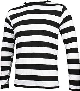 Largemouth Striped Long Sleeve Shirt Black and White Adult