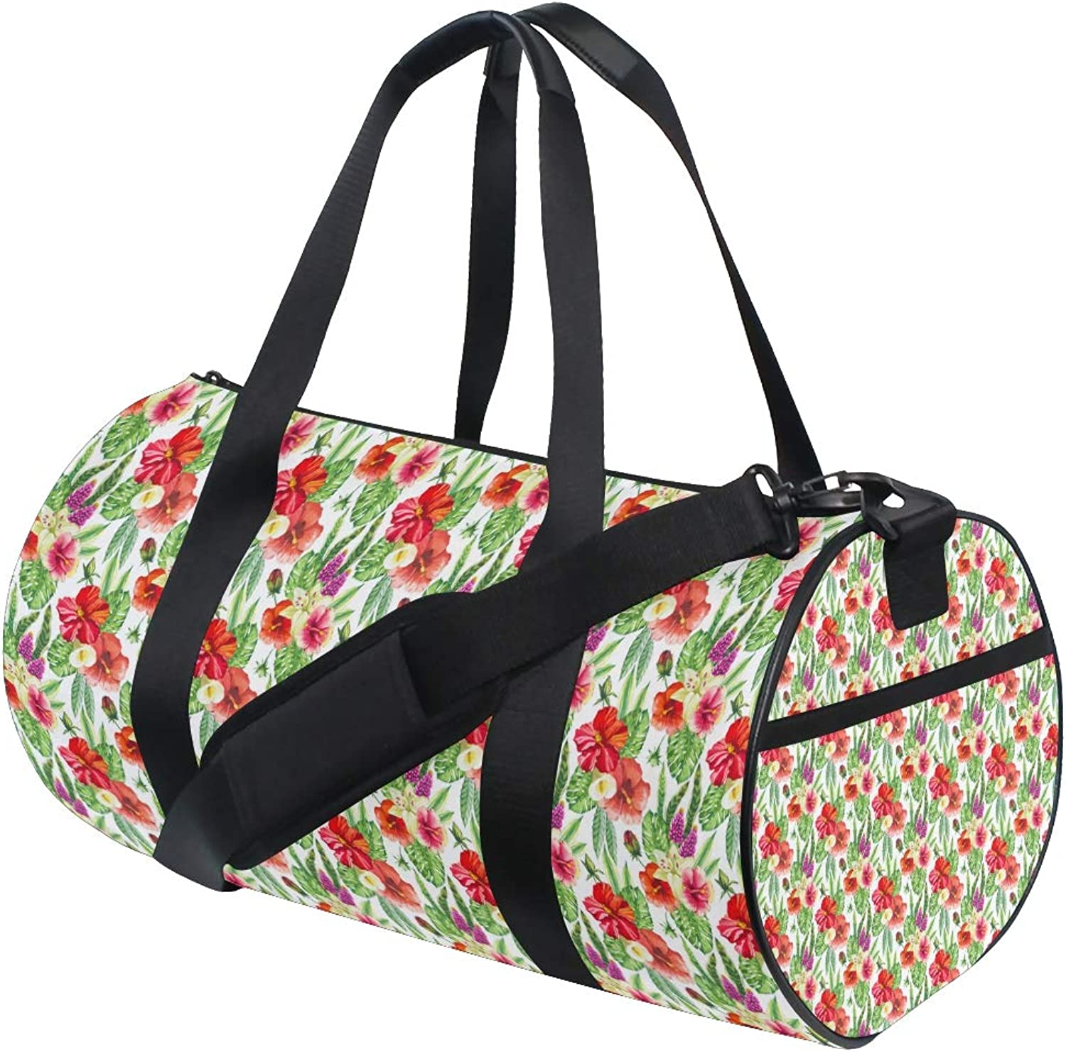 Russe Gym Bag Tropical Flower Red with shoes Compartment Waterproof Travel Duffel Bag for Women and Men