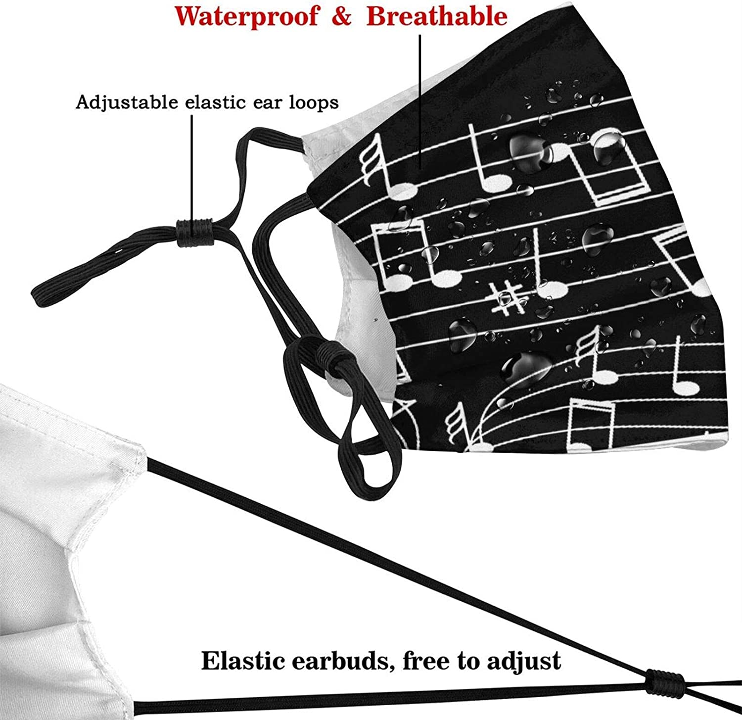 Music Notes Black Face Mask With Filter Pocket Washable Reusable Face Bandanas Balaclava With 2 Pcs Filters