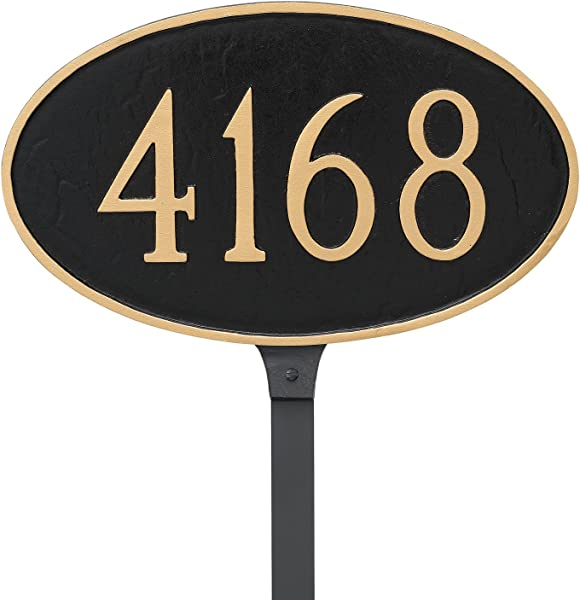 Montague Metal 6 X 10 Classic Oval Address Sign Plaque With Stake Small Black Gold