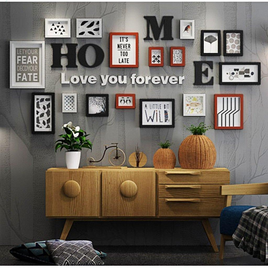 ALUK- 17 Conjunto de marcos múltiples Negro Blanco Rojo-marrón Madera bricolaje Área grande Foto Cuadro Cuadro de pared Combinación Escalera Pintura decorativa, 207 * 97cm (color : #SEGUNDO) : Amazon.es: Hogar