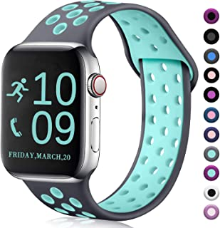 Zekapu Compatible with Watch Band 40mm 38mm, for Women Men, S/M, Breathable Silicone Sport Replacement Wrist Band Compatible for iWatch Series 5/4/3/2/1,Gray-Teal
