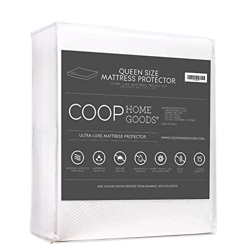 Lulltra Waterproof Mattress Protector by Coop Home Goods - Cooling Waterproof Hypoallergenic Topper- Queen Size