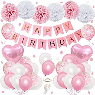 Pink Birthday Decoration, Happy Birthday Banner Party Confetti Balloons Tissue Flower Pompoms Pink Balloons for 16th 18th ...