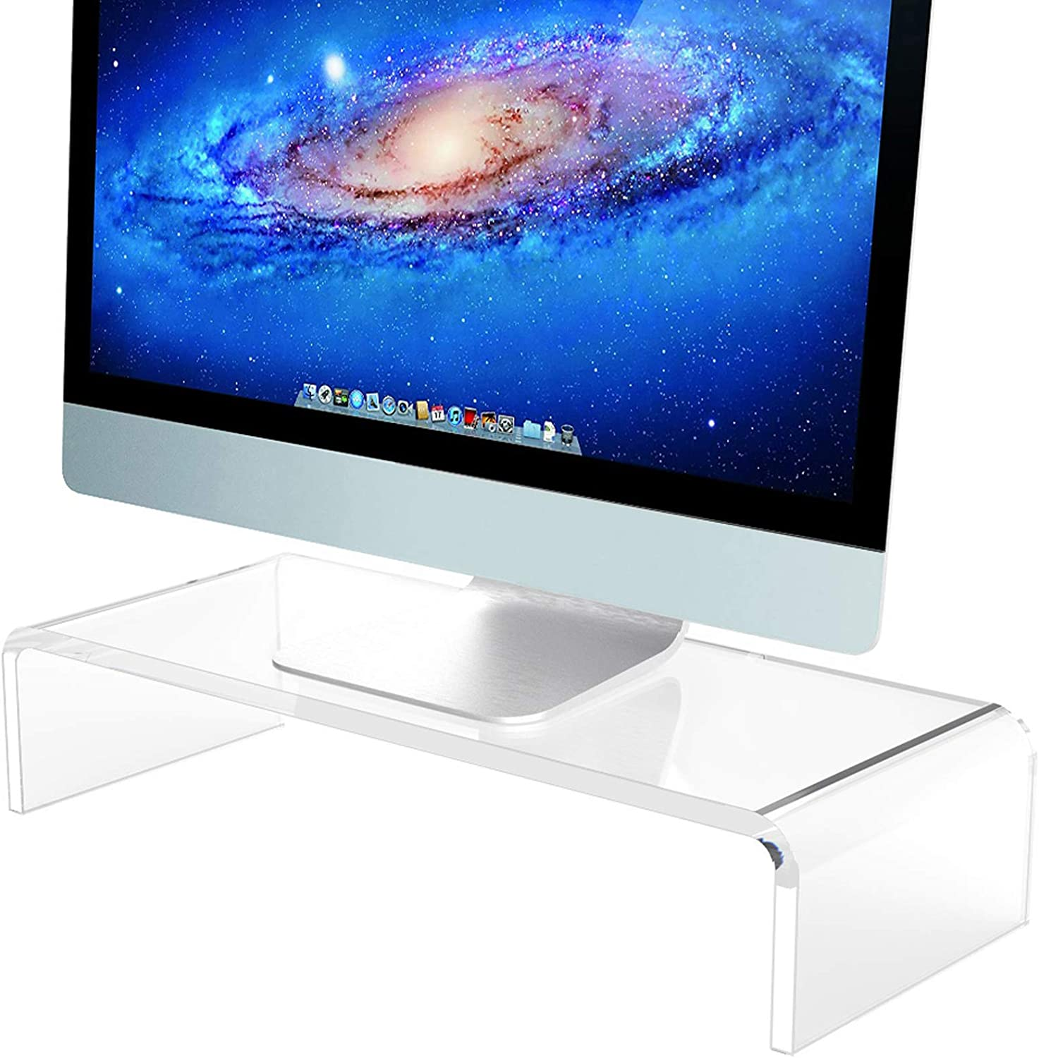 Clear Computer Stand, Acrylic Computer Monitor Riser with Sturdy, Hold up to 50lbs Desktop Monitor Stand Heavy Duty Computer Stand Acrylic, Monitor Stand Riser for Ergonomic Working