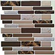 Art3d Kitchen Backsplash Peel and Stick 6-Pack of 12 inch x 12 inch Brown Marble