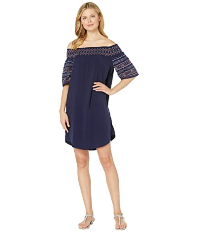 Tribal Soft Woven Off Shoulder Embroidery Dress (Nautical) Women
