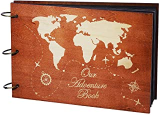 PartyKindom Our Adventure Book Wooden Scrapbook Photo Album Book for Anniversary, Wedding Gift, Travelling, Box Package, 8...