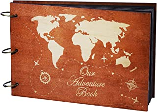 Partykindom Our Adventure Book Wooden Scrapbook Photo Album Book for Anniversary, Wedding Gift, Travelling, Box Package, 80 Pages+ 6 Photo Corner Sticker