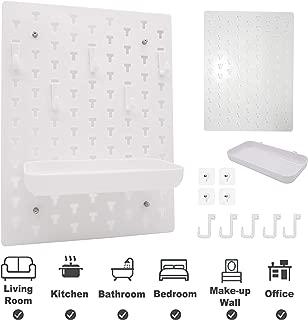 iiDesign Decorative Plastic Pegboard, EZ Mount Wall Shelf for Living Room Bathroom Kitchen Office, Wall Decor Storage Organizer (White)