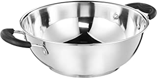 Amazon Brand - Solimo Stainless Steel Induction Bottom Kadhai (25cm, 3000 ml)