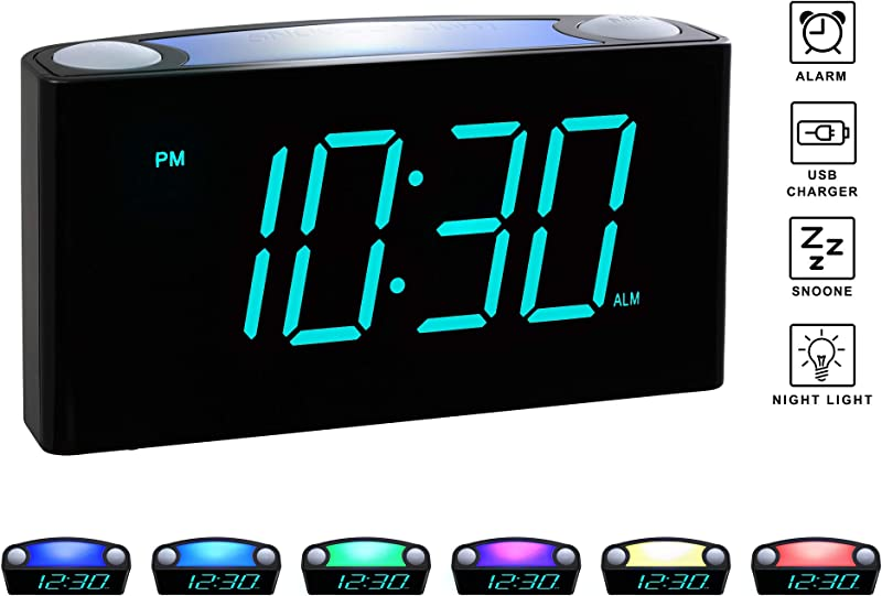 Rocam Digital Alarm Clock For Bedrooms Large 6 5 LED Display With Dimmer Snooze 7 Color Night Light Easy To Set USB Chargers Battery Backup 12 24 Hour For Kids Heavy Sleepers Elderly Blue