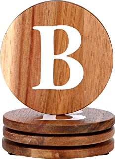 Wood Coasters Set, Natural Wooden letters Coasters for Drinks, Set of 4 Wood Coasters, Wedding Coasters, Personalized Coasters Customizable with Name, Monogrammed Letter B