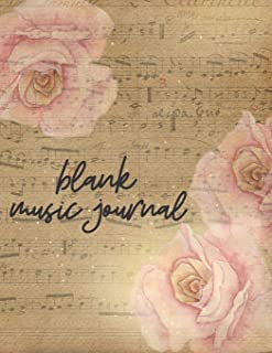 Blank Music Journal: Blank Sheet Music Notebook, Music Manuscript Paper, Large Pages, Great For School