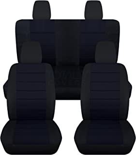 Totally Covers compatible with 2018-2020 Jeep Wrangler JL Seat Covers: Black & Navy Blue - Full Set: Front & Rear (23 Colo...