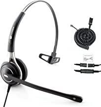 Truvoice HD-700 Premium Corded Single Ear Headset with an Ultra Noise Canceling Microphone & U10P Adapter Cable Works with Mitel, Polycom VVX, Nortel, Avaya, Shoretel, Aastra, Fanvil + Many More