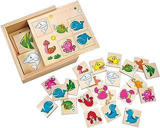 Bino Memory vattenvärld, leksak för barn från 1,5 år, barnleksaker (träleksak med 2 x 12 träplattor, motorik leksak med dj...